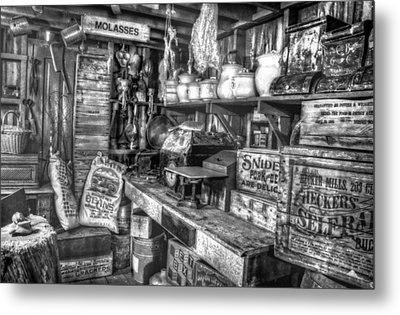 Country Store Supplies Black And White Metal Print by Ken Smith