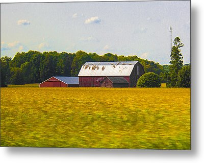 Countryside Landscape With Red Barns Metal Print by Ben and Raisa Gertsberg