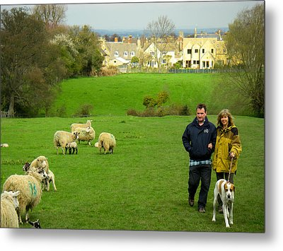 Couple With Dog On Cotswold Way Trail Through Green Pastures Near Broadway Village England Metal Print by Robert Ford