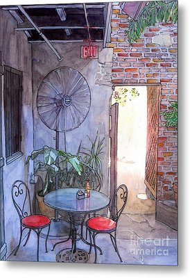 Courtyard Of The Napoleon House Metal Print by John Boles