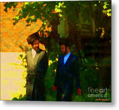 Covenant Conversation Two Men Of God Hasidic Community Montreal City Scene Rabbinical Art Carole Spa Metal Print by Carole Spandau