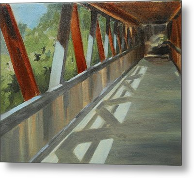 Covered Bridge At Roswell Mill Metal Print by Jean Scanlin Wright