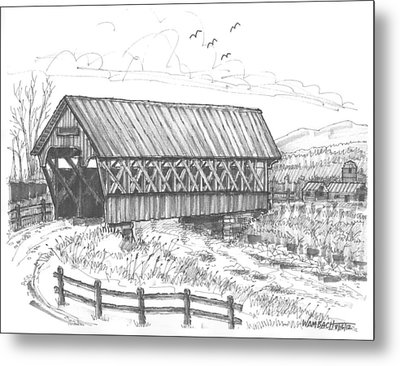 Covered Bridge Coventry Vermont Metal Print by Richard Wambach