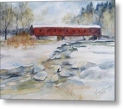 Covered Bridge In Snow Metal Print by Heidi Brantley