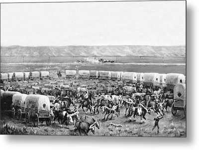 Covered Wagon Corral Metal Print by W. H. Jackson