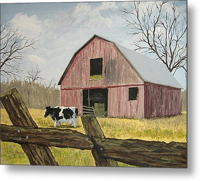 Cow And Barn Metal Print by Norm Starks