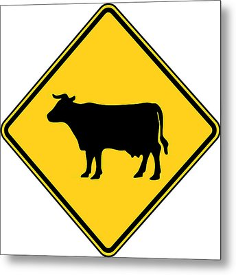 Cow Crossing Sign Metal Print by Marvin Blaine