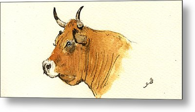 Cow Head Study Metal Print by Juan  Bosco