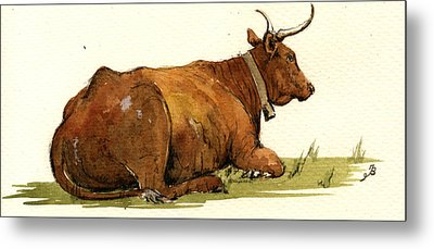 Cow In The Grass Metal Print by Juan  Bosco