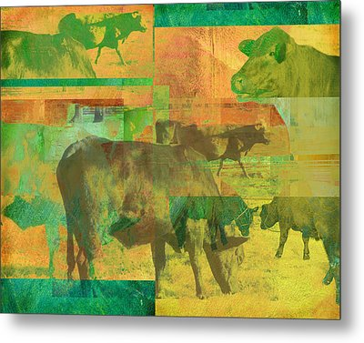 Cow Pasture Collage Metal Print by Ann Powell