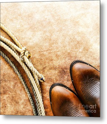 Cowboy Boots And Lasso Metal Print by Olivier Le Queinec