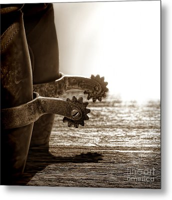 Cowboy Boots And Riding Spurs Metal Print by Olivier Le Queinec