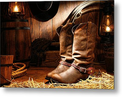 Cowboy Boots In A Ranch Barn Metal Print by Olivier Le Queinec