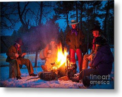 Cowboy Campfire Metal Print by Inge Johnsson