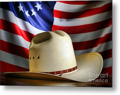 Cowboy Hat And American Flag Metal Print by Olivier Le Queinec