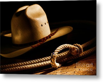 Cowboy Hat And Lasso Metal Print by Olivier Le Queinec