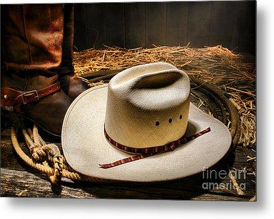 Cowboy Hat On Lasso Metal Print by Olivier Le Queinec