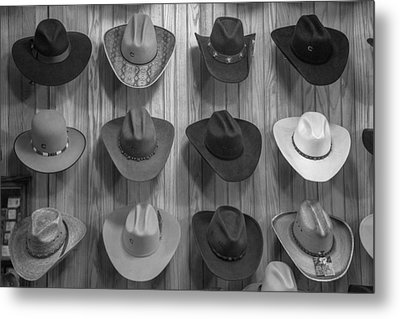 Cowboy Hats On Wall In Nashville  Metal Print by John McGraw