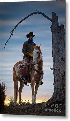 Cowboy Under Tree Metal Print by Inge Johnsson