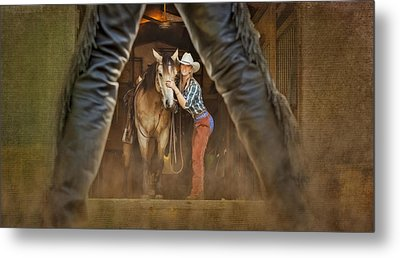 Cowgirl And Cowboy Metal Print by Susan Candelario