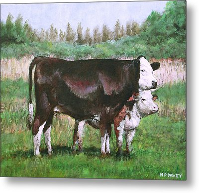 Cows In Field Demo Small Painting Metal Print by Martin Davey