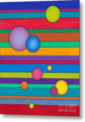 Cp003 Stripes And Circles Metal Print by David K Small