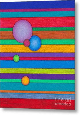 Cp003 Stripes With Circles Metal Print by David K Small