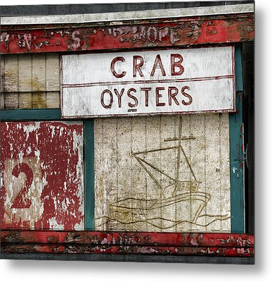 Crab And Oysters Metal Print by Carol Leigh