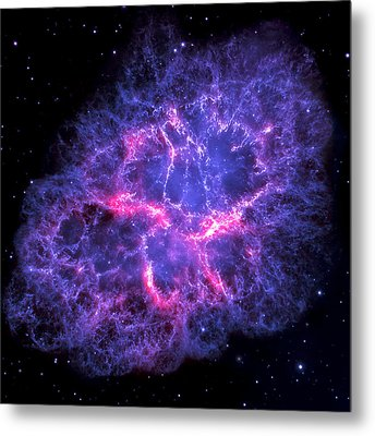 Crab Nebula In Blue Metal Print by Adam Romanowicz