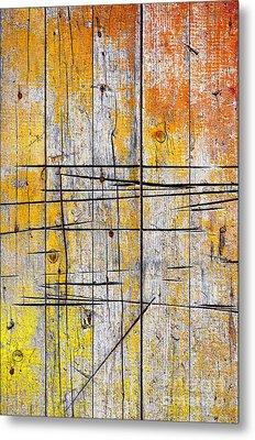 Cracked Wood Background Metal Print by Carlos Caetano