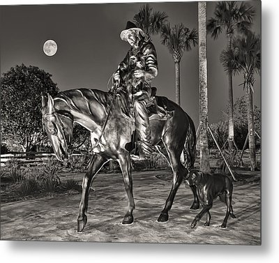 Cracker Cowboy And Full Moon Metal Print by Betty Eich