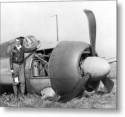 Crash Landed Airplane Metal Print by Underwood Archives