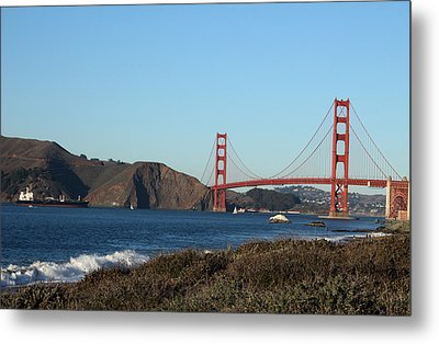 Crashing Waves And The Golden Gate Bridge Metal Print by Linda Woods