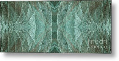 Crashing Waves Of Green 2 - Panorama - Abstract - Fractal Art Metal Print by Andee Design