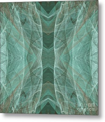 Crashing Waves Of Green 4 - Square - Abstract - Fractal Art Metal Print by Andee Design