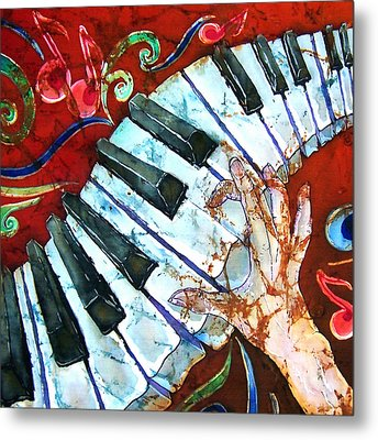 Crazy Fingers Piano Square Metal Print by Sue Duda