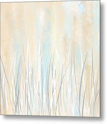 Cream And Teal Art Metal Print by Lourry Legarde