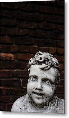 Creepy Marble Boy Garden Statue Metal Print by Edward Fielding