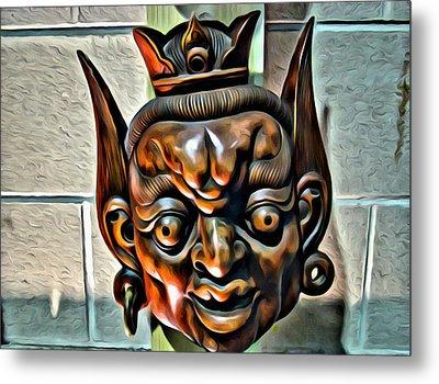 Creepy Mask Two Metal Print by Alice Gipson