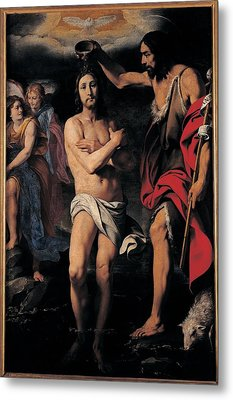 Crespi Daniele, The Baptism Of Christ Metal Print by Everett