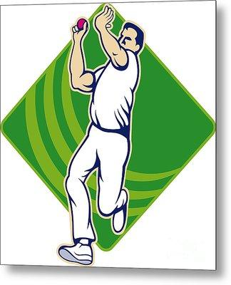 Cricket Bowler Bowling Ball Front Metal Print by Aloysius Patrimonio