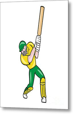 Cricket Player Batsman Batting Front Cartoon Isolated Metal Print by Aloysius Patrimonio