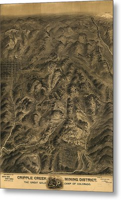 Antique Map - Cripple Creek Mining District Birdseye Map - 1895 Metal Print by Eric Glaser