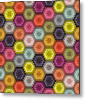 Crochet Honeycomb Metal Print by Sharon Turner