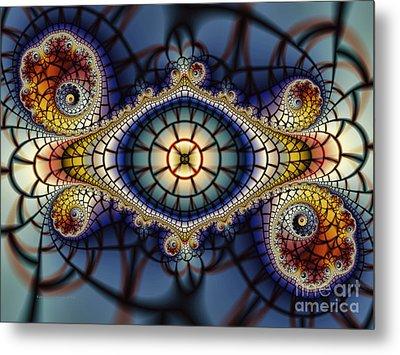Crochet Work-geometric Abstraction Metal Print by Karin Kuhlmann