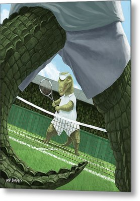 Crocodiles Playing Tennis At Wimbledon  Metal Print by Martin Davey