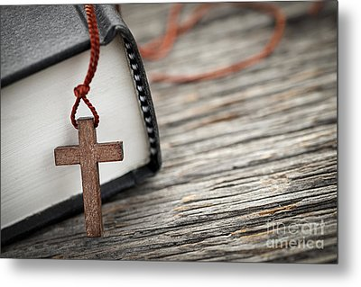 Cross And Bible Metal Print by Elena Elisseeva