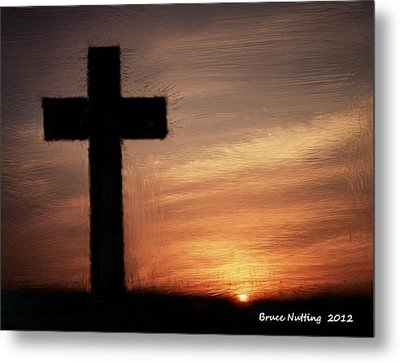 Cross In The Sunset Metal Print by Bruce Nutting