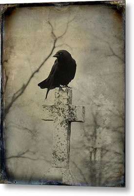 Cross With Crow Metal Print by Gothicrow Images