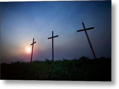 Crosses Three Metal Print by Jeff Klingler